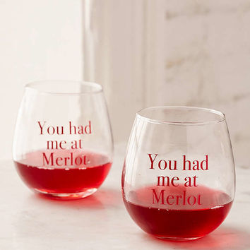 You Had Me At Merlot Stemless Wine Glasses Set - Urban Outfitters
