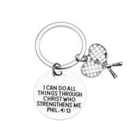 Tennis Charm Keychain, Christian Faith Charm Keychain, I Can Do All Things Through Christ Who Strengthens Me