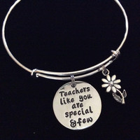 Teachers like you are Special and Few Expandable Silver Charm Bracelet Adjustable Bangle School Gift