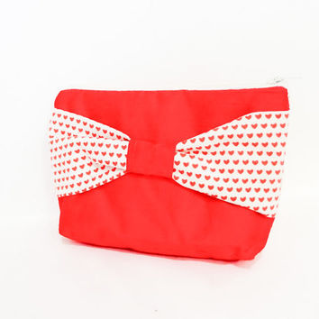 Silk Pouch, Zipper Pouch, Fabric Pouch, Valentine Gift, Gift for Her, Gift Under 20, Cosmetic Pouch,  Red Silk Pouch w Heart Ribbon