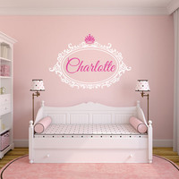Princess Name Decal, Elegant Personalized Frame, Baby Nursery Name, Girl Teen, Crown Decal, Fancy Wall Decal, Princess Decal
