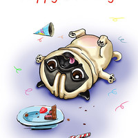 """Pug. Birthday. Printable greeting card, Instant Download 5 x 7"""" JPG file, Happy Birthday. Funny sketch drawing."""