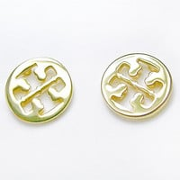 Gold Tone Stud Earrings with Logo Cutouts - Upcycled Reinvented Jewelry