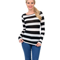 Black & White Striped Long Sleeve Keyhole Back Top