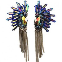 Cascade Earstuds with Diamante and Tassels Detail