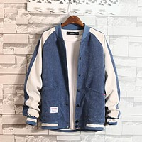 Baseball Jacket Mens With Button College Patchwork Jacket Coat Men Bomber Jacket Men Fashion