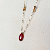 Micro-Faceted, AA Hessonite Garnet Briolette Pendant, Accented with Multi Tundra Sapphire Rondelles, Station Necklace, Gemstones, Gift