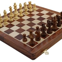SouvNear Chess Set - Magnetic Chess Game - Fine Wood Classic Handmade Standard Staunton Ultimate 12x12 Inch Folding Wooden Chess Board Set with Storage for Pieces