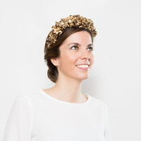 Edna - Golden Floral Crown made with clay, golden fabric leaves and golden preserved flowers