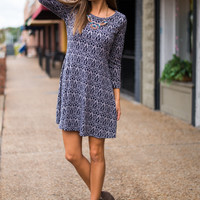 Away From Me Dress, Navy/Grey