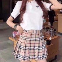 """Burberry""Woman's Leisure  Fashion Letter Printing Spell Color  Short Sleeve  Lattice Short Skirt Two-Piece Set Casual Wear"