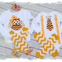 Brother Sister Fall Matching Outfits-Brother Sister Set-Boy Girl Matching Outfit-Owl Appliqué-Tie with Suspenders-Brother Sister Birthday
