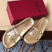 Valentino More Rivet Sandals Summer slipper slippers Women Girl Shoes Gold