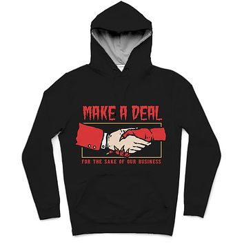 Make A Deal Trendy All-Over Print Solid Black Hoodie