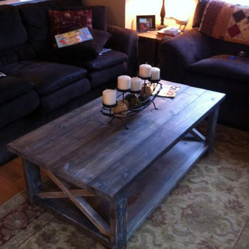 Farmhouse Weathered Wood Coffee Table with Shelf
