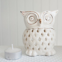 SALE White Owl Candle Holder get 2 FREE CANDLES, Aromatherapy,diffuser for Essential Oil, oil Burner,Handmade Ceramic candle warmer,spa