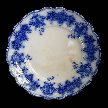 Antique Flow Blue Grindley Clarence Dinner Plate Blue and White w Raised Decoration
