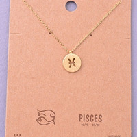 Dainty Circle Coin Pisces Zodiac Symbol Necklace - Gold, Silver or Rose Gold