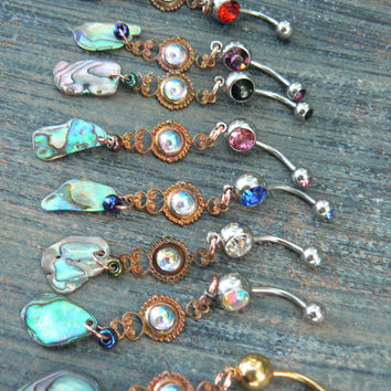 mermaid belly ring abalone belly ring mermaid tear  in beach summer moroccan belly dancer indie gypsy hippie morrocan boho and hipster style