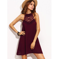 Solid Color Fashion Stitching Hollow Lace Sleeveless Halter Mini Dress