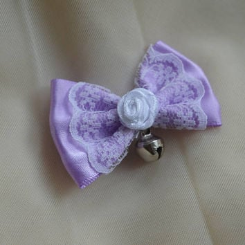 Mini hair bow - pastel lavender purple with bell - fairy kei decora lolita harajuku romantic kitten play princess fashion kawaii costume