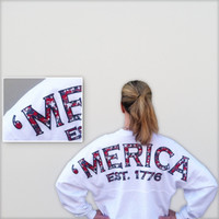 'Merica {Preppy Print} Spirit Football Jersey® (New Colors!) merica, america