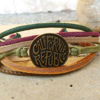 FREE SHIPPING-Bronze California Label Circular Logo, Men, Woman Bracelet, Multi Color and Strands. Handmade, Country Jewelry, Unisex. 104