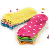 5 Pairs Mixed colors Lady Women's Fashion Heart Ankle High Low Cut Cotton Sport Casual Short Summer Socks New arrival (Size: One Size, Color: Multicolor) = 1930222788