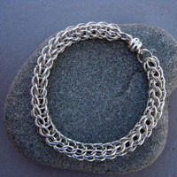 Chainmaille Bracelet/Full Persian Non-Tarnish Silver Plated