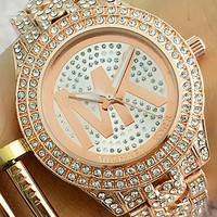 MK trendy fashion quartz watch for men and women F-Fushida-8899 rose gold