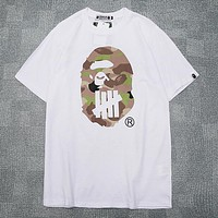 BAPE AAPE Fashion Men Women Casual Camouflage Print T-Shirt Top White