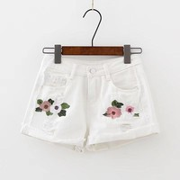 Dainty Floral Ripped Jean Shorts