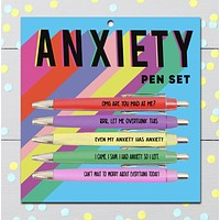 Anxiety Pen Set | OMG Are You Mad at Me, Let Me Overthink This... | Set of 5 Funny Pens on Gift Card