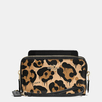Double Zip Phone Wallet in Wild Beast Print Leather