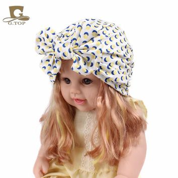 New Kids Bow Knot Hair Turban Outdoor Cap Baby Beanie Headbands Girls Strawberry Flower Bandanas Children party Hair Accessories