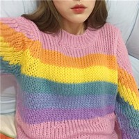 women Autumn and winter College wind Casual all-match cute Rainbow colors long sleeved Round Neck pullover loose sweater girls