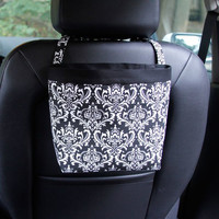 Car Headrest Caddy ~ Black Damask ~ Black Band