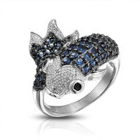 Bling Jewelry Blue Simulated Sapphire CZ Koi Fish Cocktail Ring Rhodium Plated