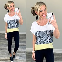 Color Block Snake Print Top