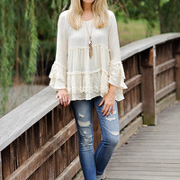 Ines Cream Lace Ruffle Bottom and Bell Sleeve Peasant Top
