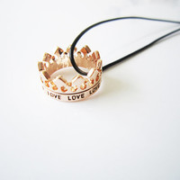 Small crown, large crown, double crown,mini crown necklace, rose gold necklace,Pretty Little Crystal,elegant necklace, best gift, KING