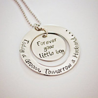 Mother of the Groom - Hand Stamped Stainless Steel Necklace - Personalized - Can be for Mother or Father of the Bride - Wedding Gift for Mom