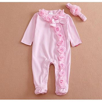 born Baby Girl Clothes Bow+Flowers Romper Clothing Set Jumpsuit & Headband 2PC Cute Infant Girls Rompers