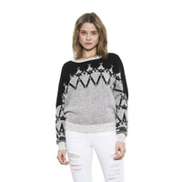 Womens Long Sleeve Grey/Black/White Christie Pullover Sweater By One Grey Day