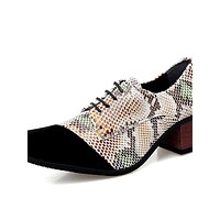 Men's Formal Shoes Leather Spring / Fall Business / British Oxfords Walking Shoes Non-slipping White / Red / Brown / Wedding / Party & Evening / Party & Evening / Printed Oxfords / Dress Shoes