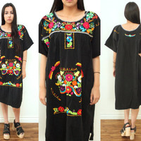 Vintage EMBROIDERED Floral Black Mexican Wedding Ethnic Peasant Midi Dress // Hippie Bohemian Boho Gypsy // Small / Medium / Large