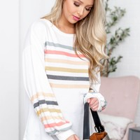 White Color Block Crew Neck Balloon Sleeve Top