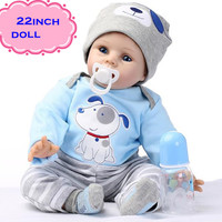 "The Latest 22"" 55cm Silicone Reborn Baby Dolls Best Gift 100% Safe And Lifelike Simulation Baby Dolls Newborn For Kid Brinquedos"