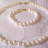 Pearl Necklace Bracelet Gold Tone Vintage GSilver Glass White Round Beads