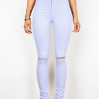 High Rise Jeans, color Denim, Soft Denim, knee Ripped Jeans, Khaki Denim Legging, jeggings, knee cuts, juniors jeans, Trendy and Affordable Clothes,